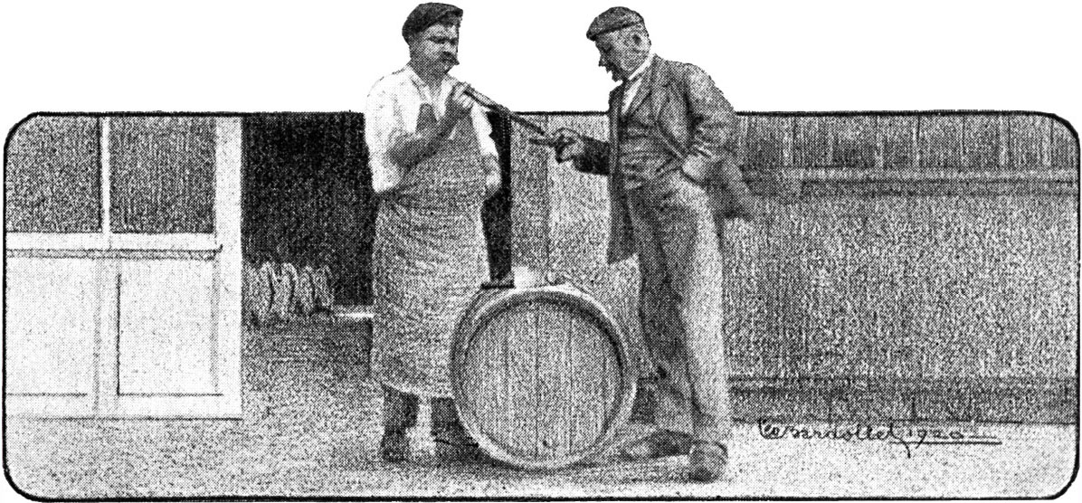 Vintage image of a man with wine thief, pouring wine into a small glass for another man