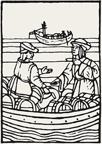 Kermit Lynch Wine Merchant Logo - wood cut of men in boat, tasting wine
